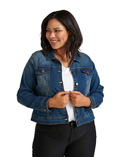 Zizzi Damen Große Größen Denim Jacke mit Knöpfen und Kragen, blau, L (50/52)