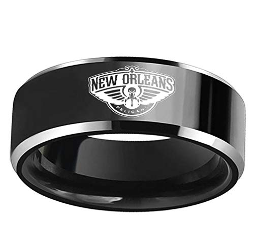 GEHIYPA New Orleans Basketball-Ring, Edelstahl, für Herren, Sport, einzigartiges Design, bequeme Passform, New Orleans Pelicans, 8