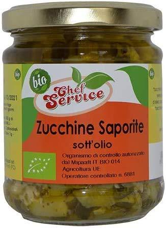 Zucchine saporite sott'olio, prodotto biologico certificato, creato con metodo artigianale da Chef Service