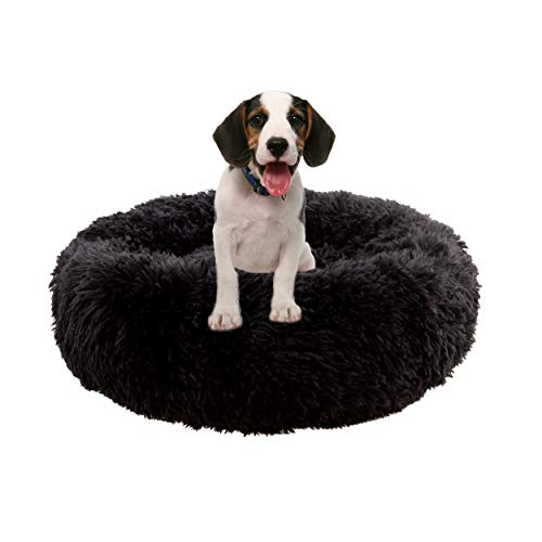 Dog Calming Bed, Donut Cuddler Round Dog Bed Ultra Soft Washable Dog and Cat Cushion Bed (L(27.5' x 27.5'), Black)