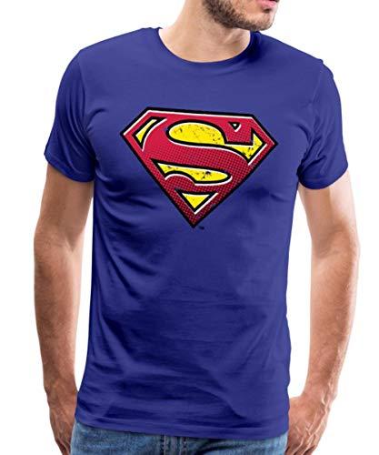 Spreadshirt DC Comics Superman Logo Used Look Style Männer Premium T-Shirt, S, Königsblau
