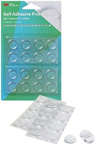 3M Bumpon Elastikpuffer, Möbelpuffer SJ5344 Lärm-/Rutschstopper (zylinderförmig, 19,0 mm breit, 4,0 mm hoch, transparent, 16 Stück) mit starker Klebkraft