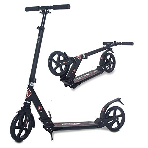 ISE Big Wheel Scooter Tretroller 200mm Roller Cityroller Klappbarer Scooter mit 2 Räder,Handbremse für Erwachsene und Kinder,belastet 100 kg,hoch Qualität,nach EN957 geprüft (Sport-Style)