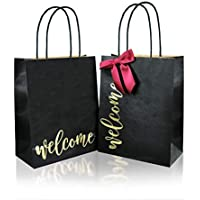 24-Piece Wedding Welcome Paper Bags with Bow, 4.25x8.25x10.5 inches