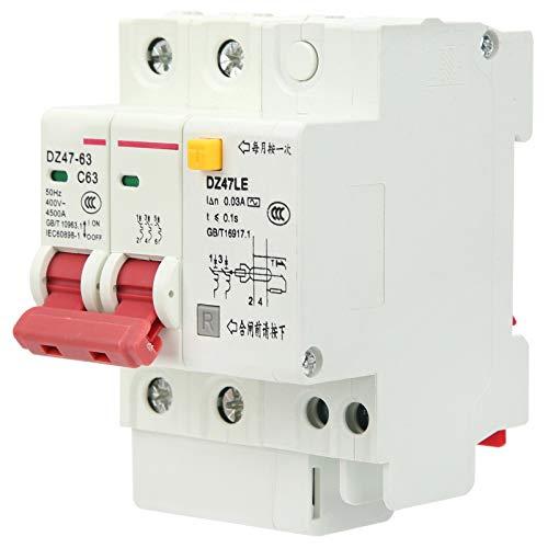 FOLOSAFENAR Operación con manija Protección contra sobrecarga Disyuntor Miniatura 6‑63A Disyuntor de Circuito de 2 Polos de bajo Voltaje Interruptores de Aire para Sistemas de distribución de energía