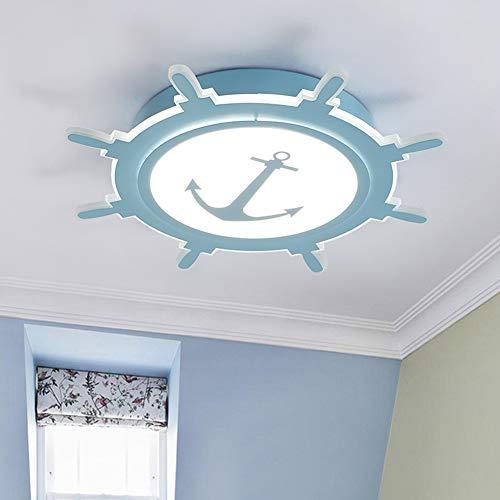 FCX-LIGHT Kinderzimmer LED Deckenleuchte Nautischer Stil Acryl Decke Lampe Nautischer Anker Deko Pendelleuchte für Wohnzimmer Schlafzimmer,Blue,WhiteLight
