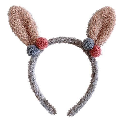 Diadema de animales de dibujos animados para mujer, diseño de conejo, orejas de conejo, pelo