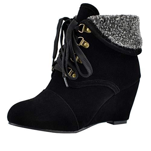LUXMAX Damen Wedge Ankle Boots High Heels Keilabsatz Stiefeletten mit Schnürung Fell Warm Winter Schuhe(Schwarz 46)