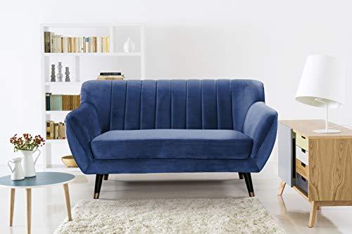 Mobilier Deco - Divano a 2 posti, in velluto, colore: Blu Louise