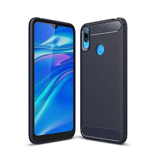MRSTER Funda para Huawei Y7 2019, Huawei Y7 2019 Fibra Carbono Suave Silicona Funda, Anti-Scratch TPU Protectiva Carcasa Cover para Huawei Y7 2019. XW Navy