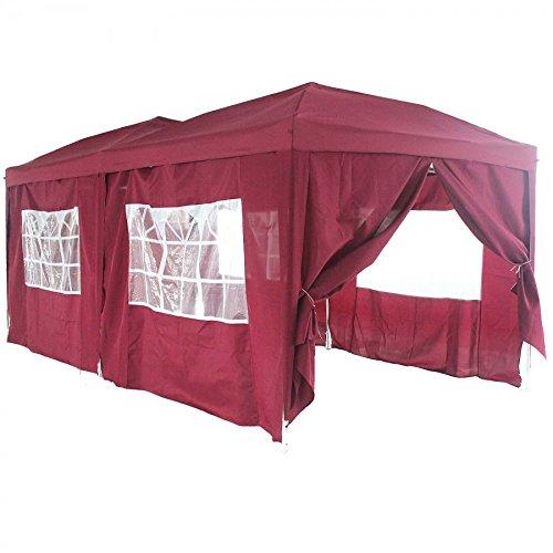 Faltpavillon mit 4 Seitenteilen 3 x 6 m, bordeaux :: Pavillon Partyzelt in 6 Farben, faltbar inkl. Transporttasche