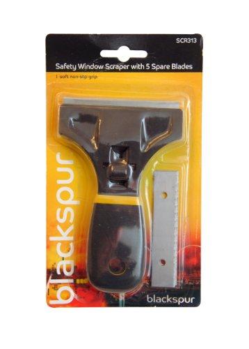 Blackspur - Raschietto per vetri e finestre, con 5 lame di ricambio