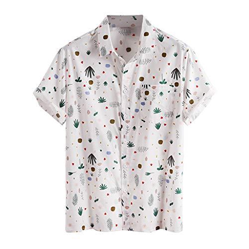 Yowablo Chemises Hommes Imprimé Col Rabattu Manches Courtes Décontracté (4XL,Blanc)