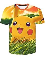 Aatensou 3D-print leuk Pi-ka-chu patroon kinderT-shirt, zomer korte mouwen heren t-shirt, casual zomer sneldrogend jongens en meisjes T-shirt