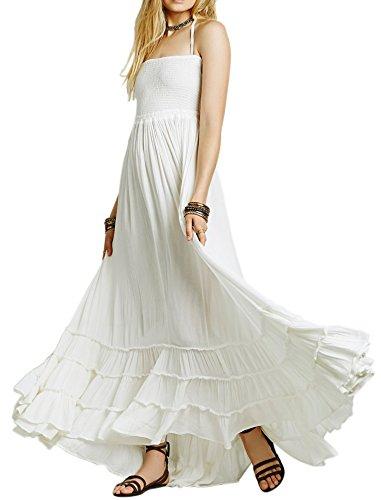 R.Vivimos Womens Summer Cotton Sexy Blackless Long Dresses Small White