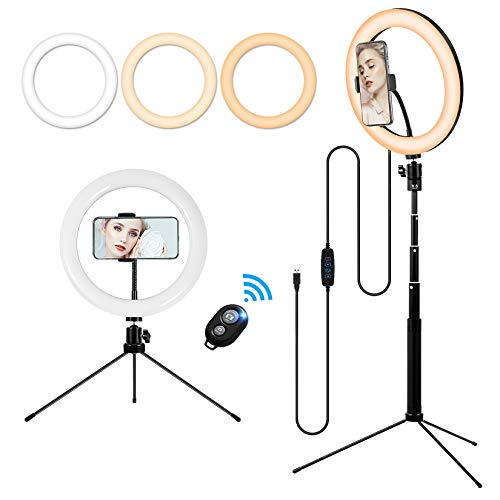 10'' Makeup Ring Light with Tripod Stand and Phone Holder, Portable Desktop...