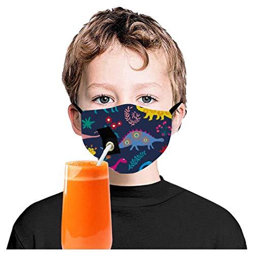 Kinder-Halstücher mit Strohhalm und niedlichem Dinosaurier-Motiv, wiederverwendbar, schützt vor Rauchverschmutzung, Gesichtsschutz für Radfahren, Gaems, Outdoor-Aktivitäten