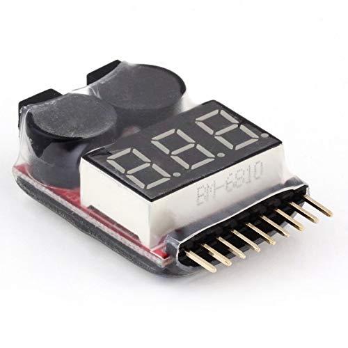 2 EN 1 1-8S Lipo/Li-Ion/Fe Probador de Voltaje de batería Comprobador de Alarma de zumbador de bajo Voltaje para vehículos y Juguetes de Control Remoto - Rojo