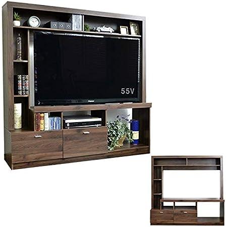 テレビ台 ハイタイプ 北欧デザイン 壁面家具 リビング壁面収納 50インチ対応 125cm幅 引出し 収納 お洒落 おしゃれ ウォールナット ブラウン