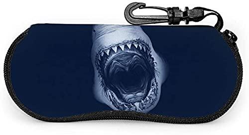 MODORSAN Shark Attack-Beautiful Sea Mujer Hombre Estuche para gafas con mosquetón