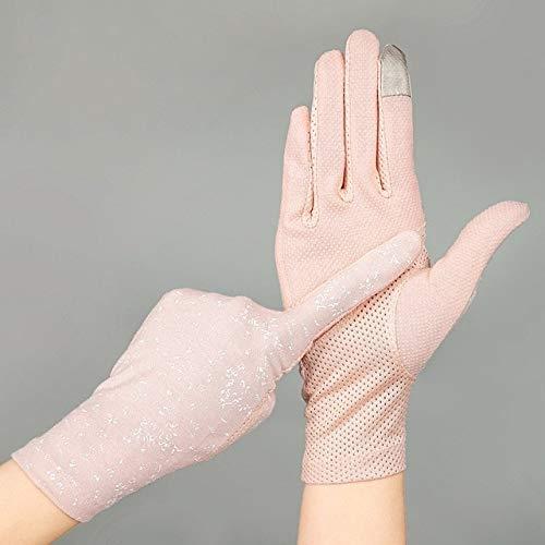 Guantes de algodón de Verano para Mujer a la Moda, Guantes de conducción con Pantalla táctil UV de Punto de impresión de Color sólido, Transpirable, Antideslizante, para Mujer-Print Light Pin