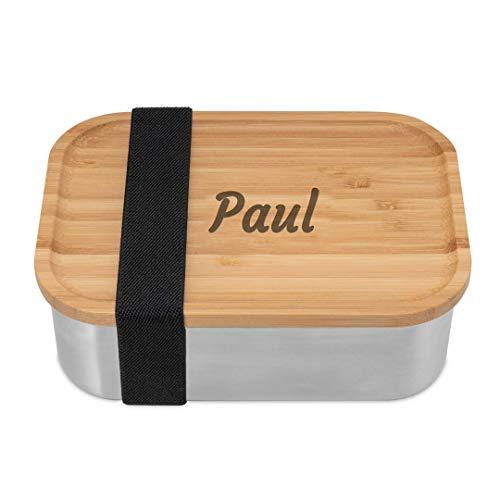 ecoGecko® Premium Brotdose aus Edelstahl mit Bambusdeckel   inkl. individueller Gravur   personalisiert mit Namen   Die hochwertige Lunchbox für Kinder und Erwachsene   800ml