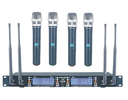 GTD Audio 4 x100 Changeable Frequency Channels UHF Wireless Microphone DJ Karaoke Mic System, Range 400Ft, Battery 12 Hours (4 Handheld Mics) 668H