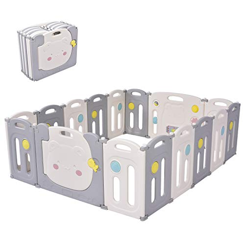 Parques de Juegos para Bebés, Sararoom Centro de Actividades para Niños, Baby Playpen, parque infantil bebe, Patio de Juegos de Interior Exterior - 14 Paneles