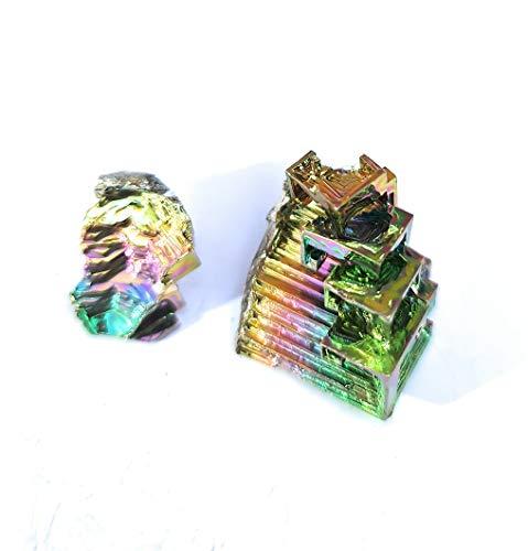 Cristal Bismuth – Deux cristaux arc-en-ciel à étages.