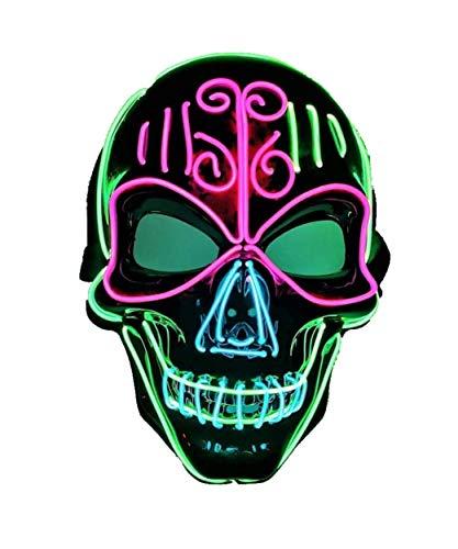 Mscara LED de calavera de Halloween, mscara de purga con luz intermitente, 3 colores y 3 modos