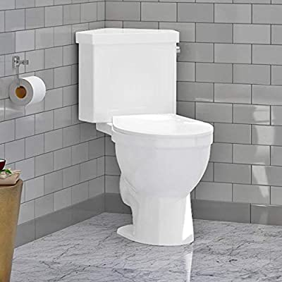 "Magnus Home Products Lawen Single-Flush Two-Piece Corner Toilet, Comfort Height, 18"" L x 35"" W"