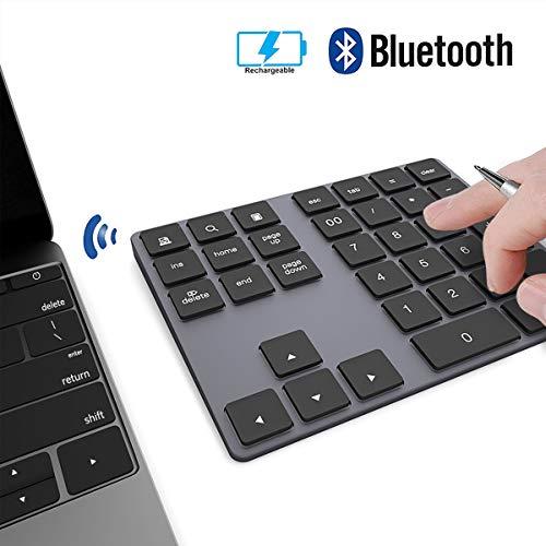 Pavé Numérique sans Fil JOYEKY Pavé Numérique Bluetooth Aluminium Ultra-Mince avec 34 Touches pour Ordinateur PC Notbook - Noir