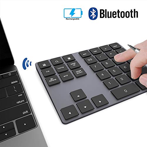Ziffernblock JOYEKY Nummernblock Bluetooth Aluminium / Numpad Wireless mit Multi-Funktion, 34 Tasten, kompatibel mit Windows, Android, iOS für PC, Notebook, Schwarz