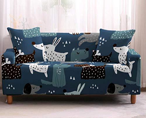 Funda Elástica de Sofá de 3 Plazas Perro Animal Azul Funda sofá (Regalar 2 Funda de Cojines) Funda para Sofá Funda de sofá de Sillón Antideslizante Protector Cubierta de Muebles