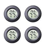 4-Pack Mini Hygromètre Intérieur Rond Thermomètre Mètres Celsius ou Fahrenheit Moniteur LCD Numérique Jauge De Température D'humidité pour Humidors Pots Incubateurs Etui Guitare Reptiles Voiture