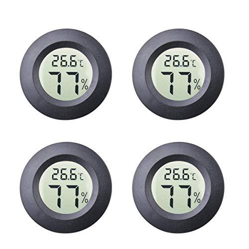 Maiweitong 4er-Pack Runde Mini Indoor Hygrometer Thermometer Meter Digital LCD Monitor Luftfeuchtigkeit Temperaturanzeige für Humidore Gläser Inkubatoren Gitarrenkoffer Reptilien Auto Gewächshaus