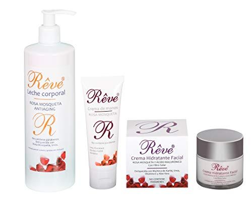 REVE Pack 3 Productos Linea Rosa Mosqueta (1 Crema Hidratante Facial 50 ml + 1 Leche Corporal 500 ml + 1 Crema de Manos 75 ml)