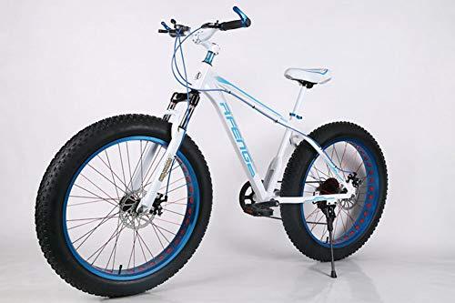 WJH 26-Zoll-Mountainbike, 7/21/24/27 Speed, Double Scheibenbremsbeläge, Große Getriebedruckplatte, Variable Speed männlich und weiblich City Bike,Weiß,26 inches21 Speed