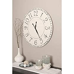 BrandtWorks Oversized Antique White Farmhouse Wall Clock 24'' x 24''