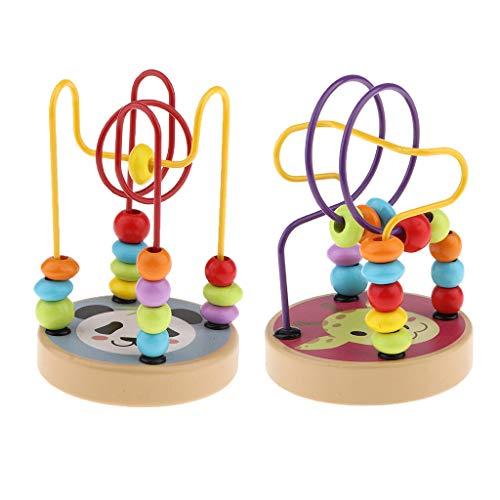 Colcolo 2 Piezas de Dibujos Animados Bebé Bead Maze Abacus Roller Coaster Games Activity Cube Baby Gift