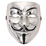 Hackers Mask V for Vendetta Anonymous Halloween Party Cosplay for Kids Boy Girl Men Women (Silver 1pack)