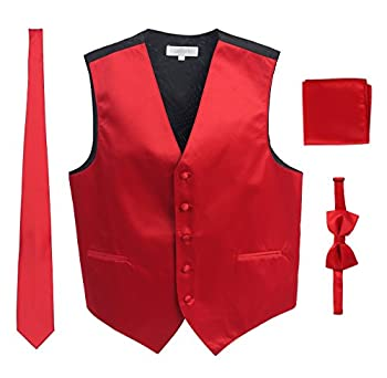 Men s Formal 4pc Satin Vest Necktie Bowtie and Pocket Square Red 2X Large