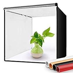 FOSITAN Lichtzelt, faltbares Fotostudio 40x40cm für Fotografie mit LED Beleuchtung - Fotozelt mit 2X 7W- LED Ringleuchten, Stativ, 4 Hintergründe, 3 Farbfilter (3200K, 5500K, 9000K)