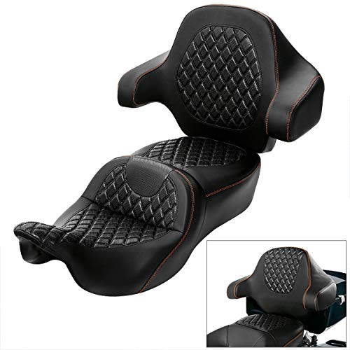 XFMT Motorcycle Once Piece 2-Up Driver Passenger Seat W/Wrap-around Tour Pack Backrest Pad For Harley Touring Street Road Electra Glide 2014-2020