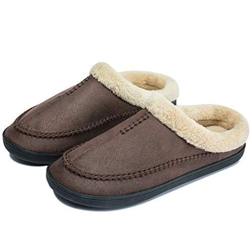 Zapatillas de Casa Cuero Hombre Invierno Cálido Peluche Zapatos Antideslizante