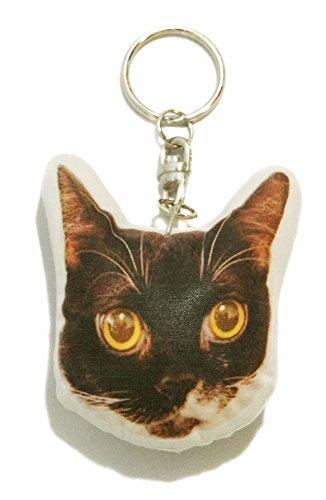 猫 キーホルダー 44 黒 白