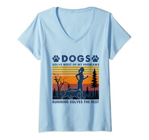 Femme Dogs Solve Most Of My Problems Tapis de course pour amoureux des chiens T-Shirt avec Col en V