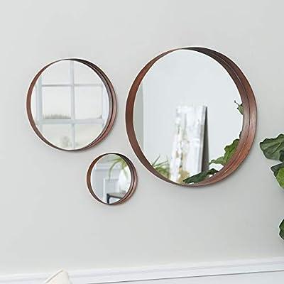Walker Edison Copper Round Wall Mirror Set, Set of 3