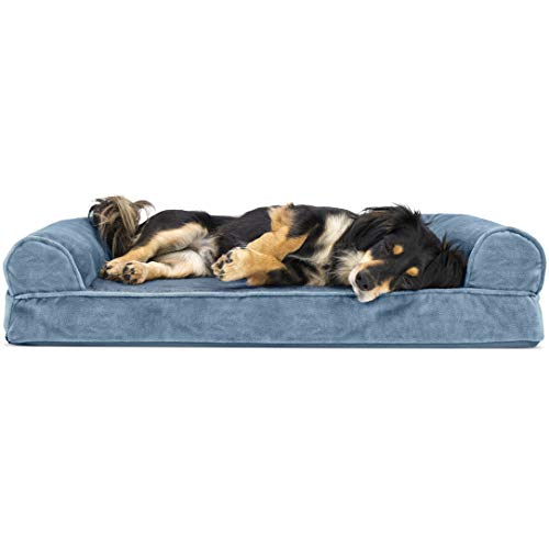 Furhaven Orthopedic Pet Bed for Dogs and Cats - Sofa-Style Faux Fur and Velvet Couch Dog Bed with Removable Washable Cover, Harbor Blue, Medium