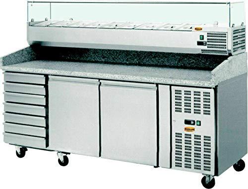 Pizzakühltisch Granit Platte mit 7 Schubladen und mit Aufsatzvitriene 9x GN 1/3, 2025 mm Kühltisch Saladette Pizzatisch Arbeitstische & Arbeitsstationen